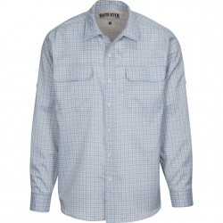 North River Long Sleeve Utility Shirt with Stretch - Denim Check