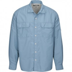 North River Long Sleeve Utility Shirt with Stretch - Denim Solid