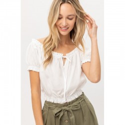 Puff Sleeve Woven Crop Top with Elastic Waist - White