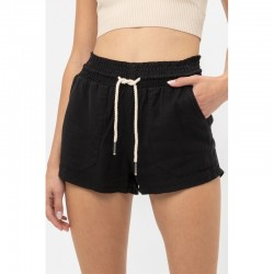 Solid Tencel Shorts with Rope Drawstring - Black