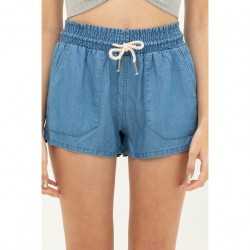 Solid Tencel Shorts with Rope Drawstring - Blue