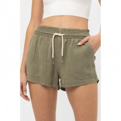 Solid Tencel Shorts with Rope Drawstring - Olive