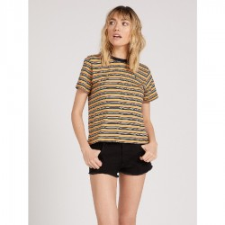 Volcom Striped Crew Neck Tee with Contrast Band - Black