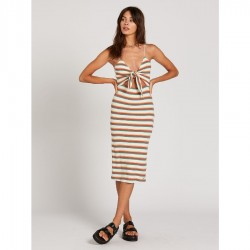 Volcom Striped Bodycon Midi Dress with Tie Front Peek-A-Boo Opening - Multi