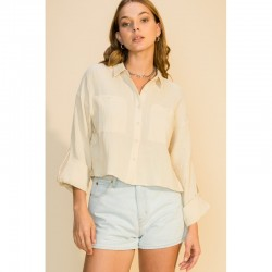 Long Sleeve Woven Button Front Shirt with Pockets - Beige