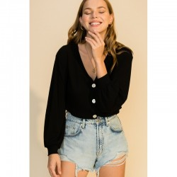 Long Sleeve Ribbed V Neck Button Front Top - Black