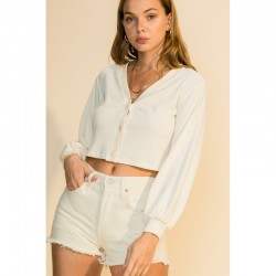 Long Sleeve Ribbed V Neck Button Front Top - Cream