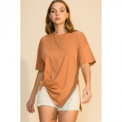 Short Sleeve Crew Neck Long Tee with Side Slits - Almond
