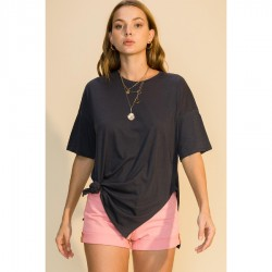 Short Sleeve Crew Neck Long Tee with Side Slits - Charcoal