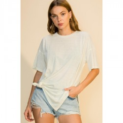 Short Sleeve Crew Neck Long Tee with Side Slits - Ivory