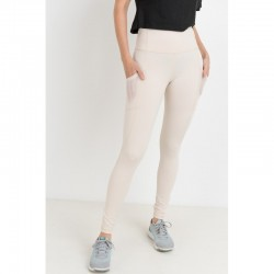 High Waist Legging with Mesh Back Inset - Natural