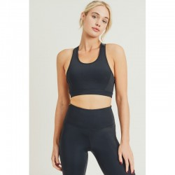 Sports Bra with Double Strap Back - Black