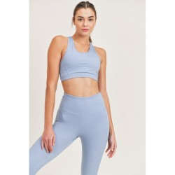 Sports Bra with Double Strap Back - Ocean