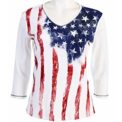100% Cotton Crewneck 3/4 Sleeve T-Shirt - Flag Old Glory in Red/Blue/White