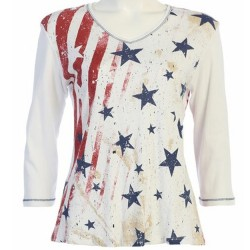 100% Cotton Crewneck 3/4 Sleeve T-Shirt - Stars & Stripes in Red/Blue/White