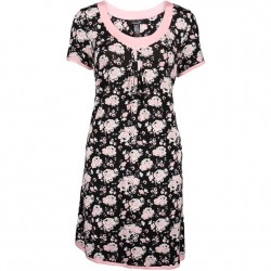 Rene Rofe Sleep Dress - Black & Pink Floral