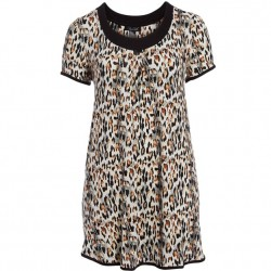 Rene Rofe Sleep Dress - Black Animal Print