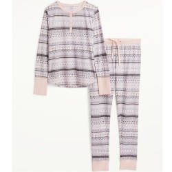 Splendid Thermal Jogger Set - Pink/Grey Fairisle