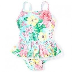 Infant Girls Ruffled Tropical Floral One-Piece Swimsuit
