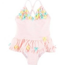 Infant Girls Baby Girls Striped Floral Swimsuit