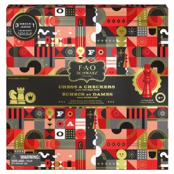 FAO Schwarz Wood Chess, Checkers and Tic-Tac-Toe Set