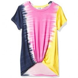 7 to 16 Girls Speechless Girls' Twist Front Short Sleeve Tee - Navy, Pink and Yellow Tie Dye