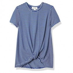 7 to 16 Girls Speechless Girls' Twist Front Short Sleeve Tee - Navy and White