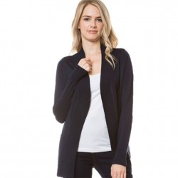 Open Front Rib Trim Cardy with Pockets - Navy
