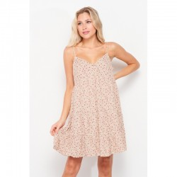 Ditsy Floral Cami Dress with Button Front - Papaya
