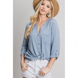 Rolled Sleeve V-Neck Woven Button Front Shirt with Mandarin Collar - Powder Blue