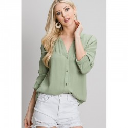 Rolled Sleeve V-Neck Woven Button Front Shirt with Mandarin Collar - Light Olive