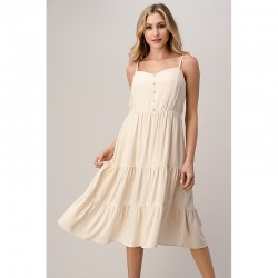 Tiered Midi Dress with Button Front - Bone