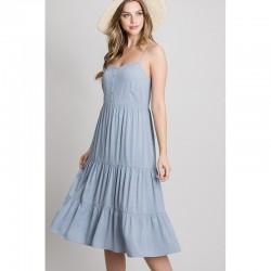 Tiered Midi Dress with Button Front - Powder Blue