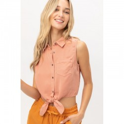 Sleeveless Button Front Crop Top with Tie Hem - Light Clay