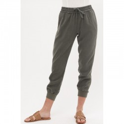 Tencel Jogger Pants with Drawstring Waist and Side Rib Trim - Olive