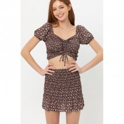 Short Sleeve Allover Smocked Floral Print Crop Top with Ruched Bust - Black (sold separately)