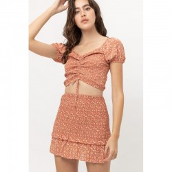 Short Sleeve Allover Smocked Floral Print Crop Top with Ruched Bust - Clay (sold separately)