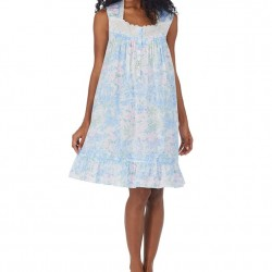 Eileen West Short Nightgown - Blue Watercolor