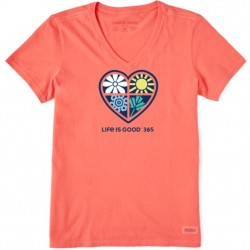 Life is Good Short Sleeve Crusher-Lite Vee T - 365 One Heart in Mango Orange