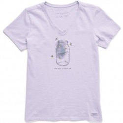 Life is Good Short Sleeve Crusher-Lite Vee T - Mason Jar Shine on Firefly in Lilac Purple