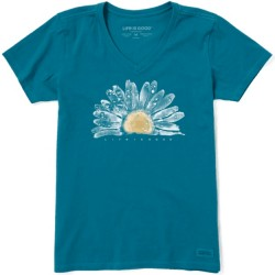 Life is Good Short Sleeve Crusher Vee T - Watercolor Daisy in Persian Blue