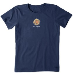 Life is Good Short Sleeve Crew Tee - Sunflower in Darkest Blue