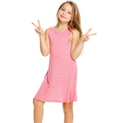 4 to 12 Girls Striped Crewneck Dress with Pockets - Pink