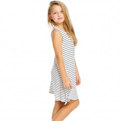 4 to 12 Girls Striped Crewneck Dress with Pockets - White