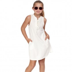 4 to 12 Girls Sleeveless Solid Tie Front Dress - White
