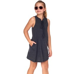 4 to 12 Girls Sleeveless Solid Tie Front Dress - Black