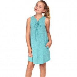 4 to 12 Girls Sleeveless Solid Tie Front Dress - Mint