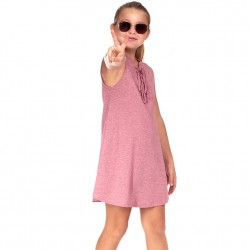 4 to 12 Girls Sleeveless Solid Tie Front Dress - Rose
