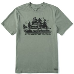 Life Is Good Short Sleeve Lite T-Shirt - Lake Cabin in Moss