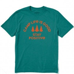 Life Is Good Short Sleeve Lite T-Shirt - Stay Positive Camp in Spruce